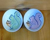 Squirrel Ceramic Bowl, Hand Painted Squirrel Ring Holder, Pink Squirrel Bowl, Squirrel Snack Bowl, Squirrel Ring Holder