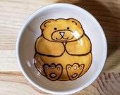 Golden Bear Dish, Grizzly Bear Bowl, Bear Ramekin, Golden Bear Ring Holder, Grizzly Bear Illustration, Bear Art,  Honey Bear