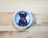 Black Dog Bowl, Black German Shepherd, Ceramic Black Dog Bowl, Black Dog Spoon Rest, Black Dog Sauce Dish