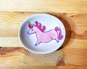 Unicorn Ceramic Bowl, Unicorn Spoon Rest, Unicorn Condiment Dish, Unicorn Ring Holder, Oval Unicorn Bowl, Pink Unicorn, Unicorn Pottery
