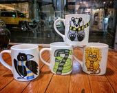 "Harry Potter Inspired ""Houses"" Mug, Coffee Mugs, Gryffindor, Slytherin, Ravenclaw, Hufflepuff, Cartoon Animal in Scarves"