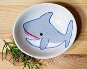 Shark Ceramic Bowl. Shark Dish,  Shark Ramekin, Baby Shark, Shark Ring Holder, Shark Art, Shark Stacking Dish, Shark Olive Oil Serving Dish