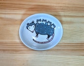 Opossum with Babies Oval Dish, Opossum Mom Bowl, Opossum Mom Spoon Rest, Possum with Babies Art, Mother Possum, Possum Illustration