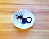 Tri-Colored Corgi Bowl, Black Corgi Oval Dish, Corgi Heart Butt, Cute Dog, Dog Ceramic, Corgi Ceramic Bowl, Corgi Ring Holder,