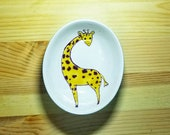 Giraffe Bowl, Giraffe Ceramic Dish, Small Oval Dish, Giraffe Ring Holder, Giraffe Spoon Rest, Giraffe Dipping Bowl, Giraffe Pottery