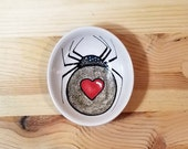 Spider Oval Ceramic Bowl, Spider Candy Dish, Ceramic Black Widow Bowl, Sparkly Spider, Spider Spoon Rest, Olive Oil Serving Bowl,