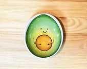 Happy Avocado Bowl, Avocado Serving Dish, Avocado Pottery, Avocado Ramekin, Avocado Illustration, Avocado Dip Bowl, Avocado Spoon Rest