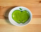 Green Apple Bowl, Ceramic Apple Bowl, Oval Apple Bowl, Green Apple Ring Dish, Green Apple Ramekin, Oval Ceramic Ramekin, Happy Fruit Bowl