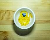 Golden Monkey Bowl, Ceramic Monkey Dish, Monkey Ring Holder, Monkey Snack Bowl, His Dark Material Inspired, Monkey Pottery, Monkey Ramekin