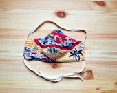 Vintage Hawaiian Map Print Fabric Mask,  Triple Layer Washable Face Mask With Filter, Cotton Face Mask with Wire Nose and Adjustable Ties