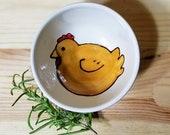 Chicken Ceramic Bowl, Hen Pottery, Hen Ring Holder, Hen Espresso Cup, Gift Under 15