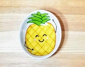 Happy Pineapple Bowl, Oval Pineapple Bowl, Oval Pineapple Dish, Pineapple Spoon Rest, Pineapple Ramekin, Pineapple Sauce Dish,