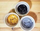 Set of Small Cat Bowls, 3 Stacking Cat Bowls, Condiment Dish Set, Set of Espresso Cups, Cute Cat Bowls, Set of Ramekins, Cat Bowls