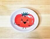 Happy Tomato Bowl, Oval Tomato Dish, Ceramic Tomato Spoon Rest, Tomato Sauce Dish, Tomato Ring Holder, Tomato Art, Tomato Pottery,