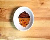 Happy Acorn Bowl, Oval Acorn Bowl, Oval Ceramic Bowl, Acorn Ring Dish, Acorn Ceramic Ramekin, Acorn Sauce Bowl