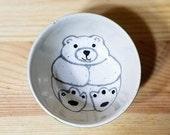 Polar Bear Round Ceramic Dish, Polar Bear Ramekin, Polar Bear Ring Holder, Polar Bear Stacking Bowls, Polar Bear Pottery, Bear Art