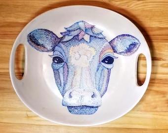Blue Cow Platter, Ceramic Blue Cow Platter, Ceramic Cow Art, Blue Cow Illustration on a Platter
