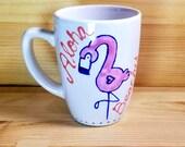 Aloha Beaches Mug, Funny Flamingo Mug, Cute Animal Mug, Funny Animal Pun Mug