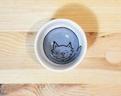 Gray Cat Pottery, Gray Cat Bowl, Cat Dish, Gray Cat Illustration, Cat Ring Holder, Condiment Bowl, Gray Cat Candy Dish, Cat Ceramic Dish