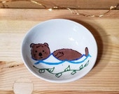 Otter Bowl, Oval Otter Ceramic Dish, Otter Spoon Rest, Otter Ring Holder, Oval Condiment Dish, Oval Sauce Dish, Olive Oil Serving Dish