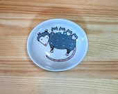 Opossum with Babies Oval Dish, Opossum Mom Bowl, Opossum Mom Spoon Rest, Possum with Babies Art, Mother Possum, Possum Illustration