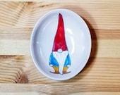 Gnome Bowl, Gnome Dish, Small Gnome Pottery, Gnome Ring Holder, Gnome Spoon Rest,