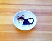 Tri-Colored Corgi Bowl, Black Corgi Oval Dish, Corgi Heart Butt, Cute Dog, Dog Ceramic, Corgi Ceramic Bowl, Corgi Ring Holder,