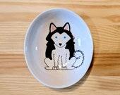Siberian Husky Bowl, Husky Ceramic Dish, Siberian Husky Spoon Rest, Husky Illustration, Siberian Husky Art, Siberian Husky Ceramic Ramakin