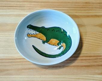 Alligator Ceramic Bowl, Crocodile Dish, Alligator Spoon Rest, Alligator Illustration, Florida Gator Bowl, Florida Wildlife Art, Cute Gator