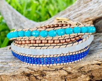 Beaded Leather Wrap Bracelet - Turquoise+Copper+White+Electric Blue - Boho Wrap Bracelet