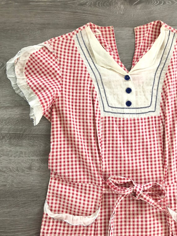 Vintage 1930s Red Gingham Picnic Dress