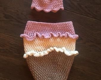 Newborn Crochet Ice Cream Cone outfit