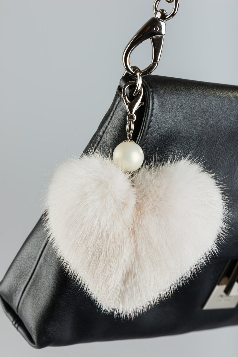 Love Purse Charm with Beads Memory Pendant of Real Beige Mink Fur Keychain Heart