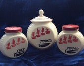 Salt and pepper , grease pot, Vitrock Art Deco Range set, Fire King, Flower Pots Pattern , Kitchen Milk Glass