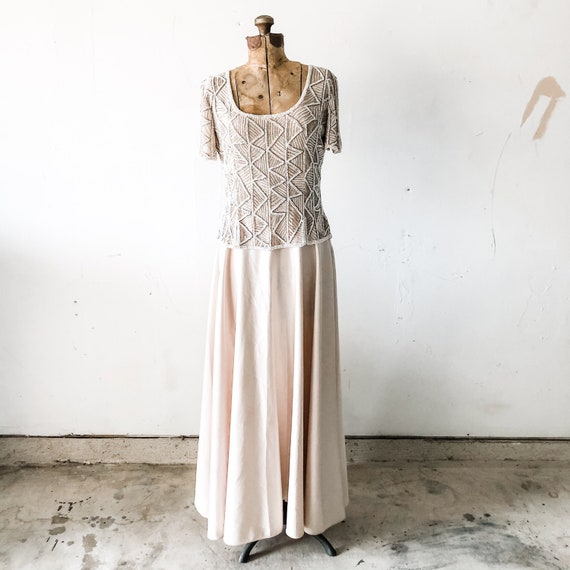 80s Stenay cream beaded formal dress / mother of t