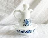 70s Avon skin so soft bath oil delft blu pitcher and bowl bath oil pitcher bathroom decor bath oil bathroom storage vintage Avon