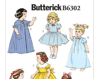 "Butterick Pattern 6302 Retro '55 Dresses, Petticoat, Overalls, Nightgown, Robe Pattern for 18"" Dolls"