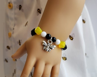 Black and Yellow Bee Beaded Bracelet for American Girl Blaire Wilson GOTY 2019 and other 18 inch dolls