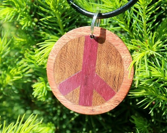 Peace Necklace, peace sign necklace, wood peace necklace , unique necklace, wood peace necklace, Peace symbol, wood necklace,exotic wood