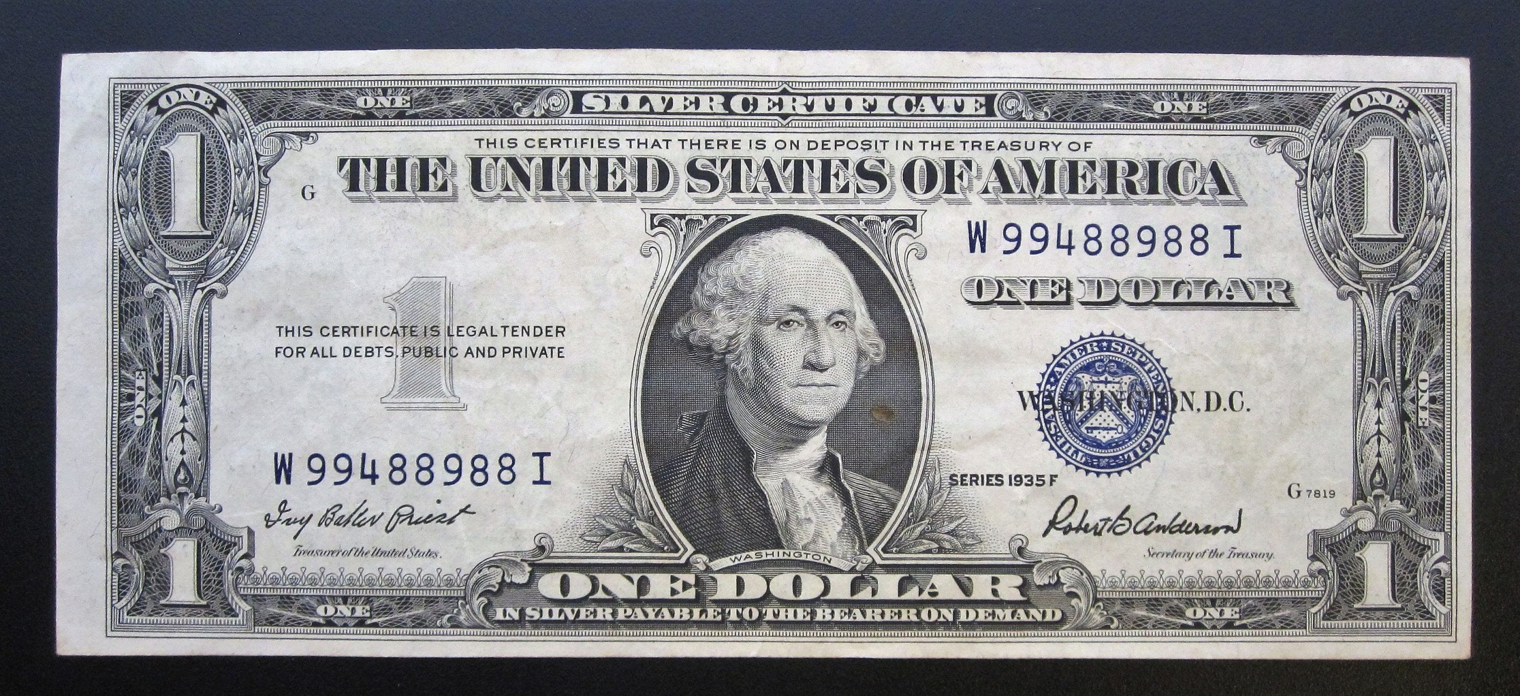 Series 1935 F One Dollar Silver Certificate W 99488988 I Etsy