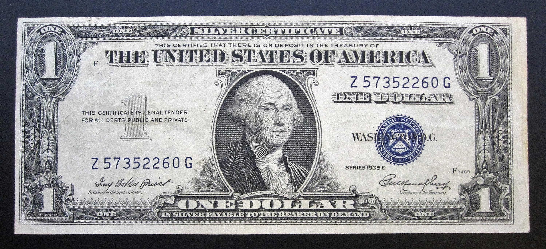 Series 1935 E One Dollar Silver Certificate Z 57352260 G Etsy