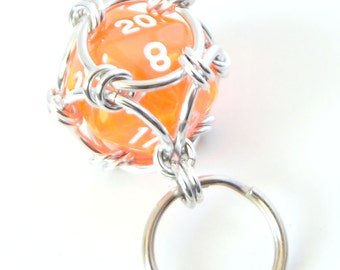 Bright Orange Dice Keychain, Caged Chainmaille D20 Geek Keyring, Father's Day Gift, Geek Gift, Dungeons and Dragons, DnD, RPG Accessories