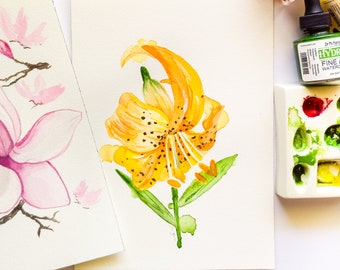 No framing necessary Ready to Display Fine Art Tiger Lily Gift for Gardener Small Original Watercolor painting on Baltic Birch