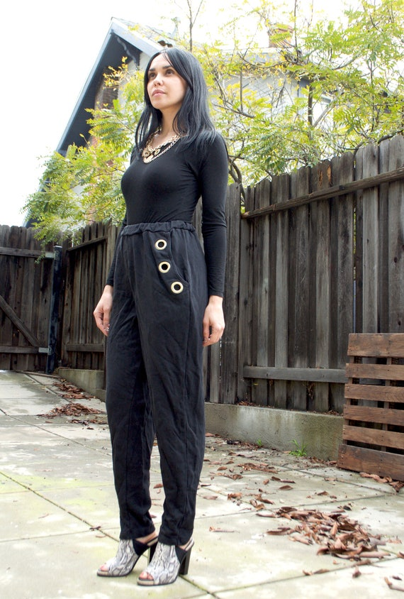Vintage Black Sweats w/ Grommets