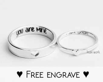 8639236714 Tiny Hearts Fine Silver Couple Rings | Promise Rings | Promise Rings For  Couples | His and Her Promise Rings | Personalized | Gift For Him