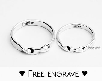 4b170f919d Folding Fine Silver Couple Rings | Mobius Wedding Set | Engraved Commitment  Rings | Customized Silver Mobius Jewelry | Engravable Rings