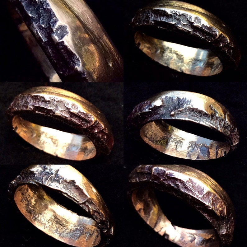 a mixed metal /'bark/' ring. Wood Beneath The Bark