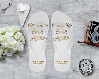 ca8bcbf88 Personalised Wedding Flip Flops - Happily Ever After