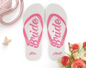 1aa868ffcd95 Personalised Bride Flip Flops