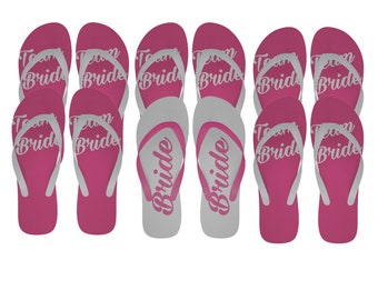 5023594e7cf9 Hen  Bachelorette Flip Flops Set - Team Bride